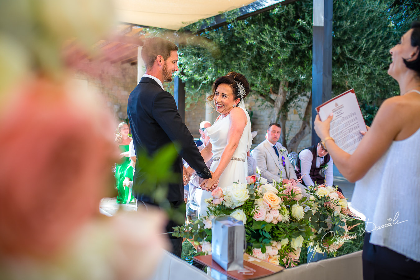 Funny wedding moments captured by Cristian Dascalu during an elegant Aphrodite Hills Wedding in Cyprus.