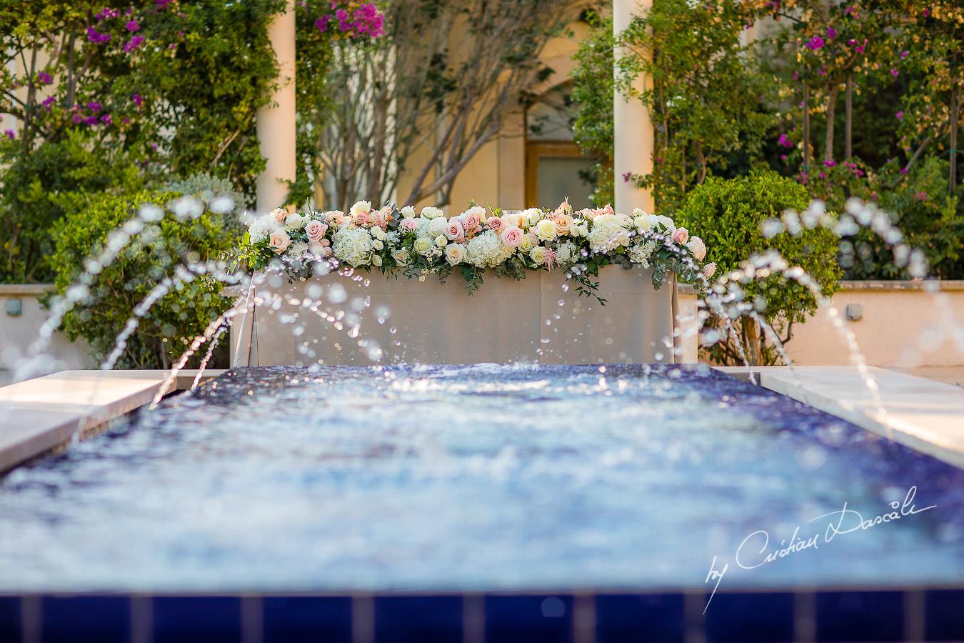The secret Garden`s pool captured by Cristian Dascalu during an elegant Aphrodite Hills Wedding in Cyprus.