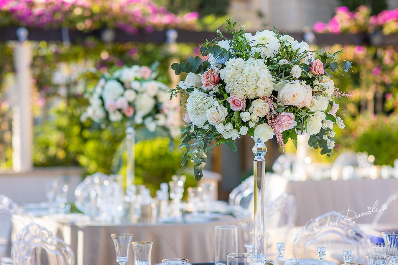 Wedding decorations captured by Cristian Dascalu during an elegant Aphrodite Hills Wedding in Cyprus.