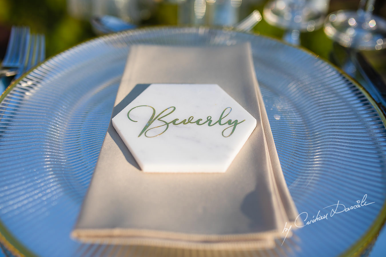 Table details captured by Cristian Dascalu during an elegant Aphrodite Hills Wedding in Cyprus.