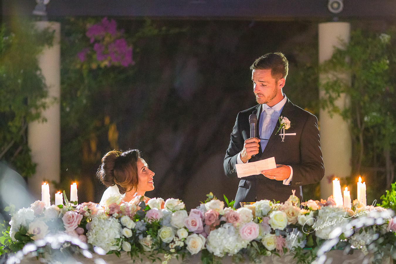 Groom's speech moments captured by Cristian Dascalu during an elegant Aphrodite Hills Wedding in Cyprus.