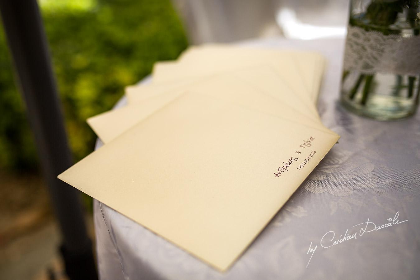 Wedding invitations captured by Cyprus Wedding Photographer Cristian Dascalu at a beautiful wedding in Larnaka, Cyprus.