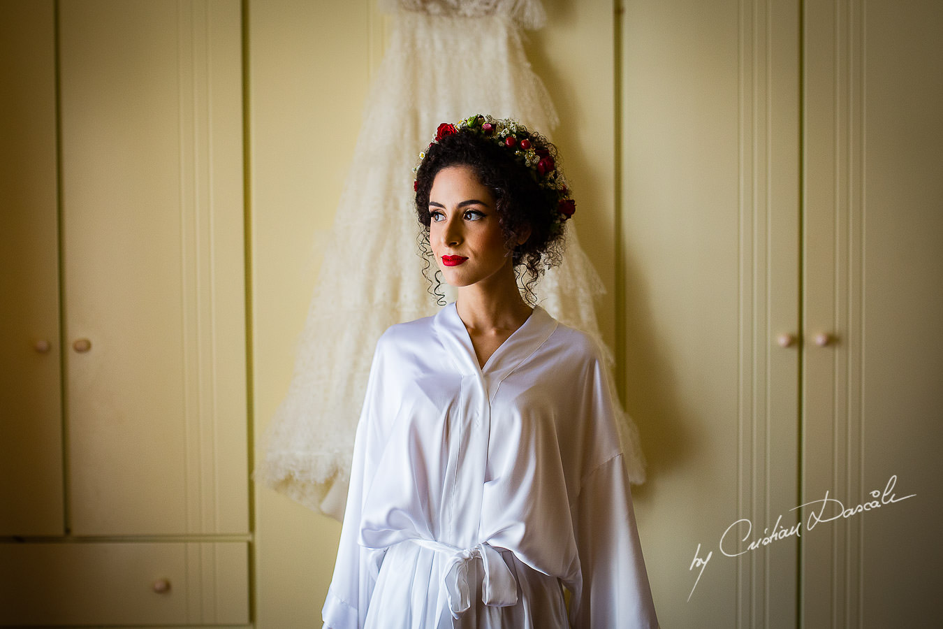 The bride before her getting ready, captured by Cyprus Wedding Photographer Cristian Dascalu at a beautiful wedding in Larnaka, Cyprus.