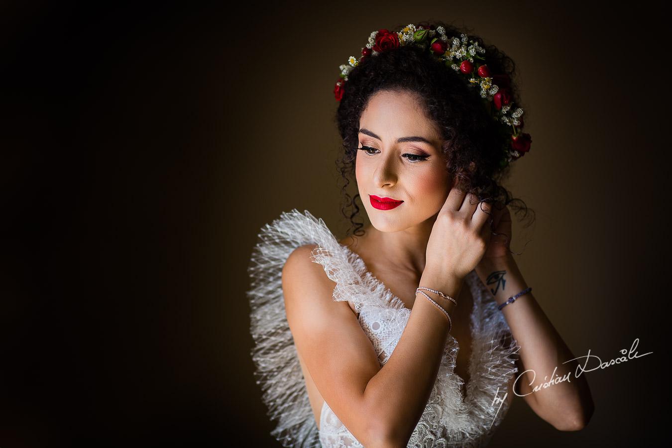 Bridal portrait, captured by Cyprus Wedding Photographer Cristian Dascalu at a beautiful wedding in Larnaka, Cyprus.