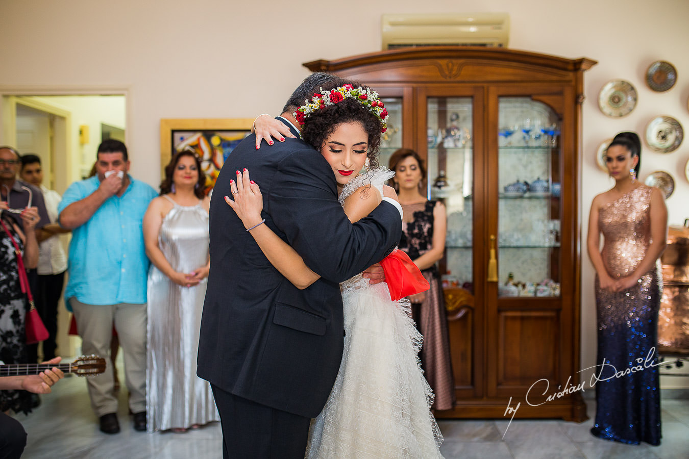Bride and her father, moments captured by Cyprus Wedding Photographer Cristian Dascalu at a beautiful wedding in Larnaka, Cyprus.