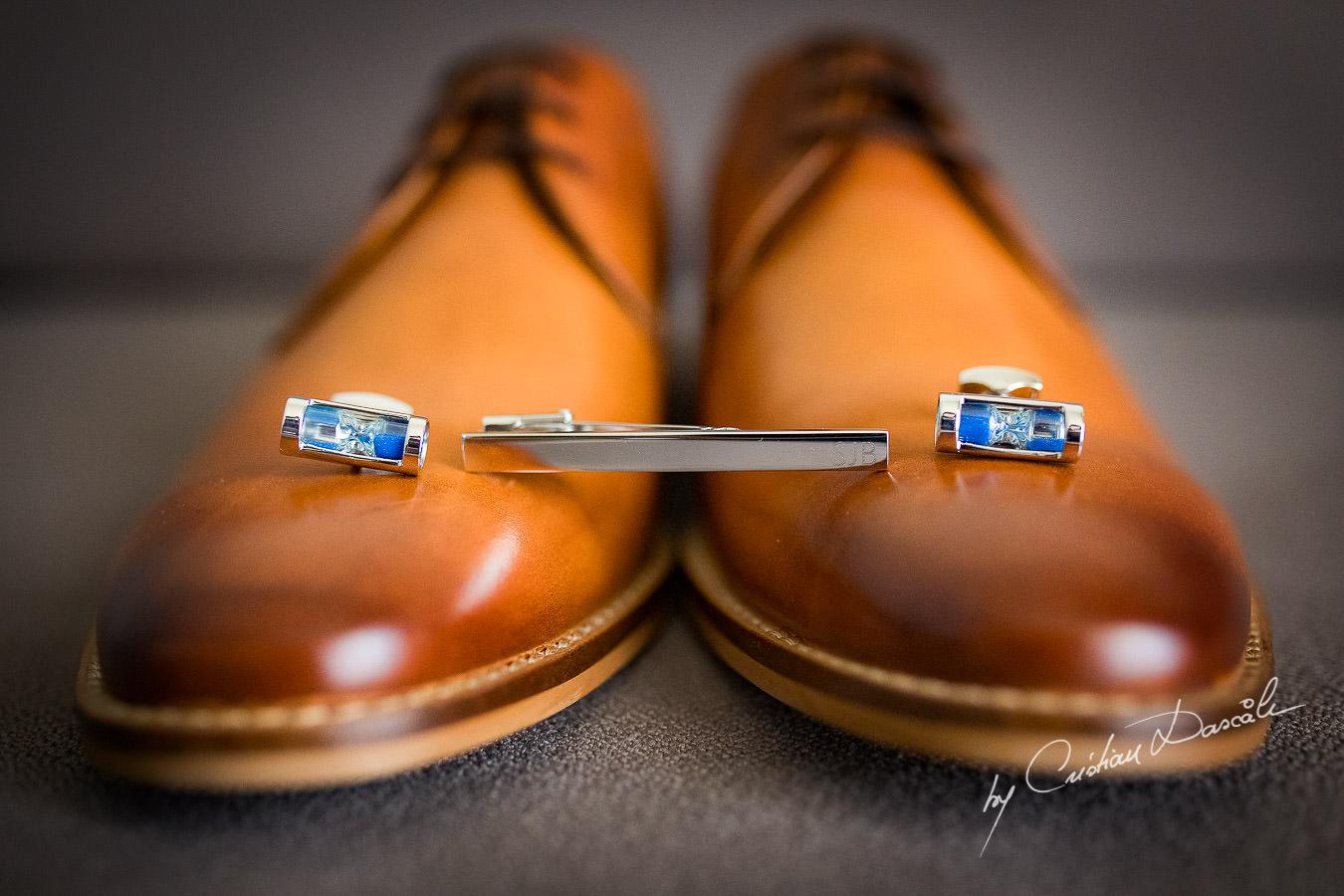 Groom`s elegant shoes captured during an Elegant Minthis Hills Wedding, in Paphos, Cyprus.