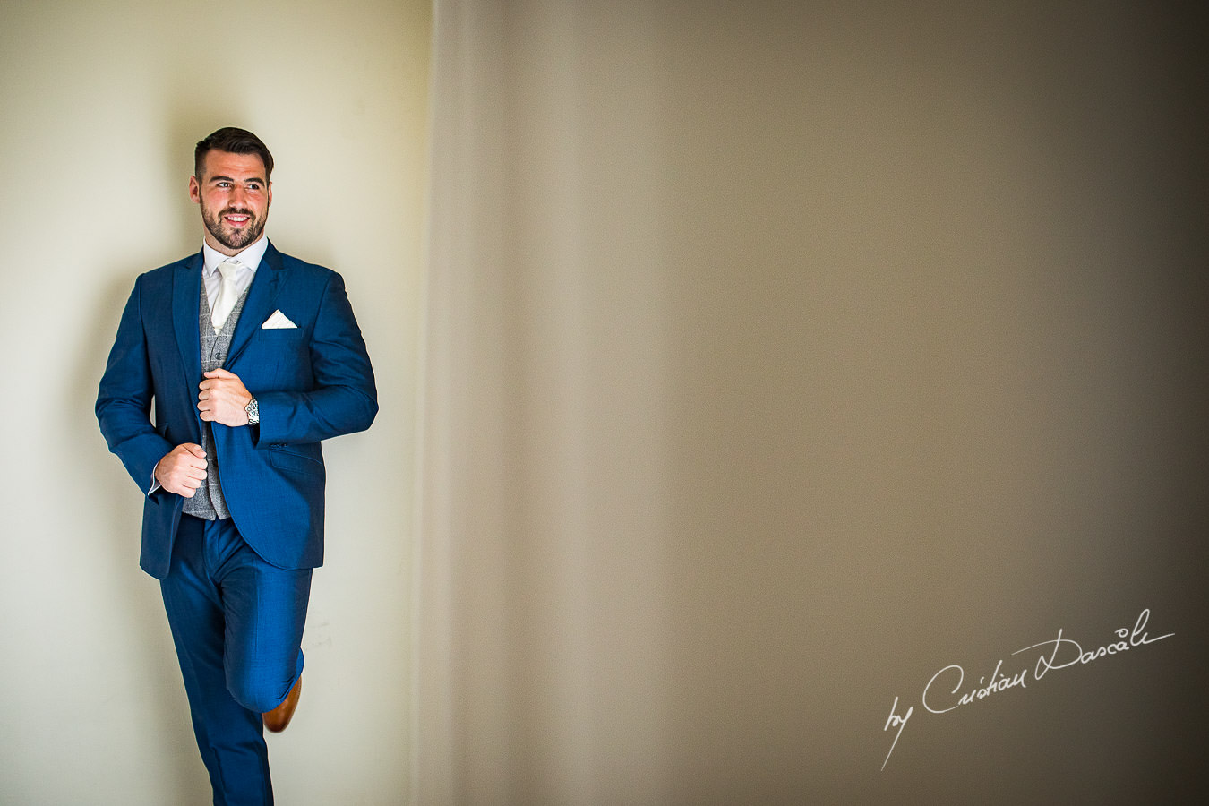A portrait of the groom, Scott, captured during an Elegant Minthis Hills Wedding, in Paphos, Cyprus.